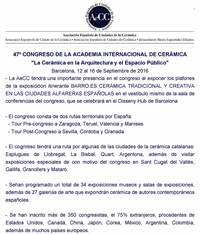 "THE AeCC IN THE 47th CONGRESS OF THE ""INTERNATIONAL ACADEMY OF CERAMICS"" (AIC)"